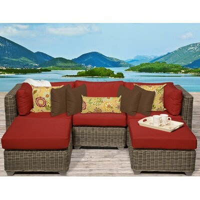 Cape Cod 5 Piece Sectional Seating Group with Cushion Fabric: Terracotta