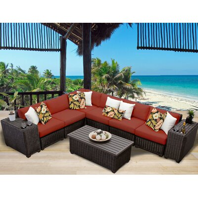 Venice 9 Piece Sectional Seating Group with Cushion Fabric: Terracotta