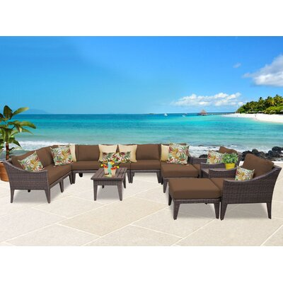 Manhattan 13 Piece Sectional Seating Group with Cushion Fabric: Cocoa