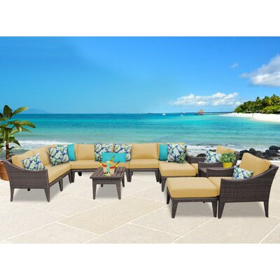 Manhattan 13 Piece Sectional Seating Group with Cushion Fabric: Sesame