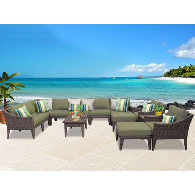 Manhattan 13 Piece Sectional Seating Group with Cushion Fabric: Cilantro