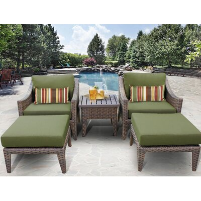Manhattan 5 Piece Lounge Seating Group with Cushion Fabric: Cilantro