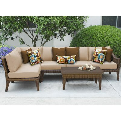 Manhattan 6 Piece Sectional Seating Group with Cushion Fabric: Wheat