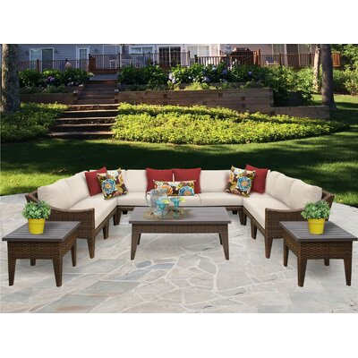 Manhattan 12 Piece Sectional Seating Group with Cushion Fabric: Beige