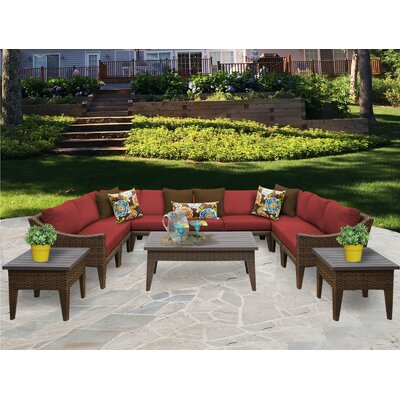 Manhattan 12 Piece Sectional Seating Group with Cushion Fabric: Terracotta