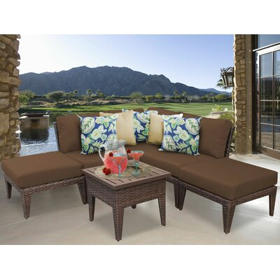 Manhattan 6 Piece Sectional Seating Group with Cushion Fabric: Cocoa