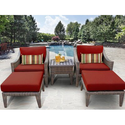 Manhattan 5 Piece Lounge Seating Group with Cushion Fabric: Terracotta