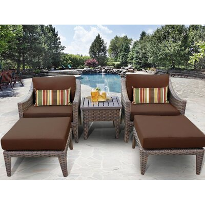Manhattan 5 Piece Lounge Seating Group with Cushion Fabric: Cocoa