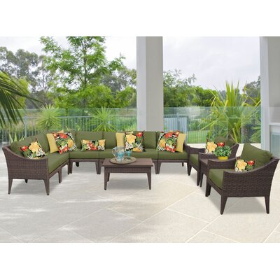 Manhattan 11 Piece Sectional Seating Group with Cushion Fabric: Cilantro