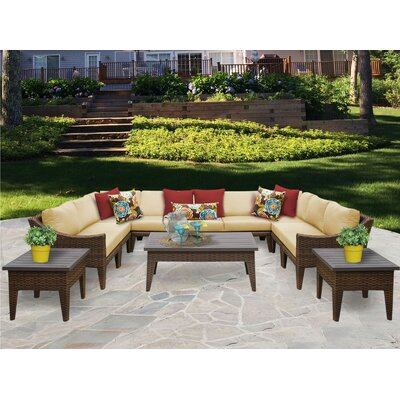 Manhattan 12 Piece Sectional Seating Group with Cushion Fabric: Sesame