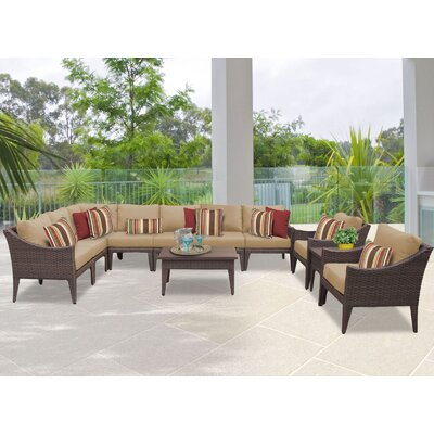 Manhattan 11 Piece Sectional Seating Group with Cushion Fabric: Wheat