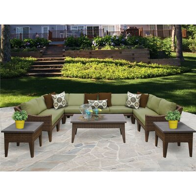 Manhattan 12 Piece Sectional Seating Group with Cushion Fabric: Cilantro