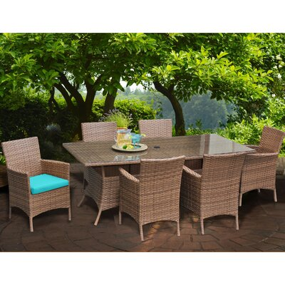 Laguna 7 Piece Dining Set with Cushions Cushion Color: Aruba