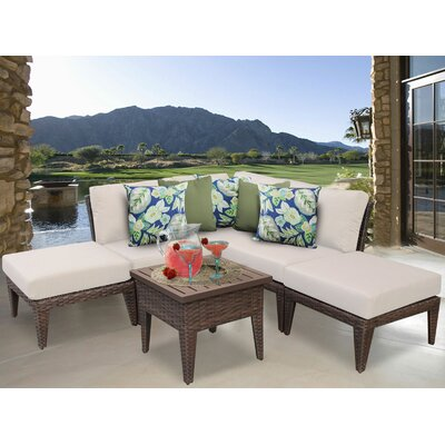 Manhattan 6 Piece Sectional Seating Group with Cushion Fabric: Beige