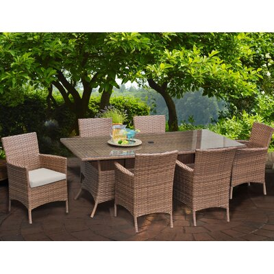 Laguna 7 Piece Dining Set with Cushions Cushion Color: Beige