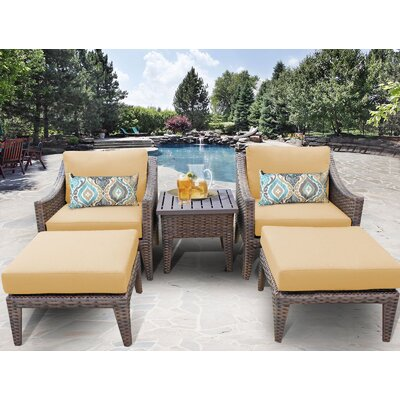 Manhattan 5 Piece Lounge Seating Group with Cushion Fabric: Sesame