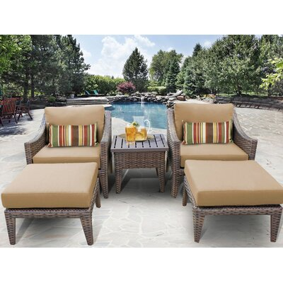 Manhattan 5 Piece Lounge Seating Group with Cushion Fabric: Wheat