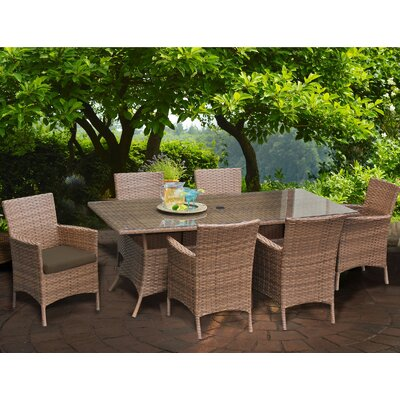 Laguna 7 Piece Dining Set with Cushions Cushion Color: Cocoa