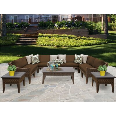 Manhattan 12 Piece Sectional Seating Group with Cushion Fabric: Cocoa