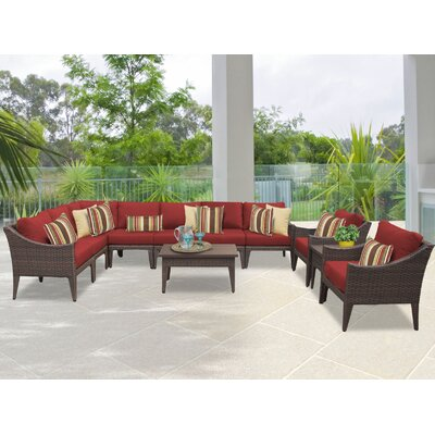 Manhattan 11 Piece Sectional Seating Group with Cushion Fabric: Terracotta