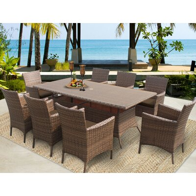 Laguna 9 Piece Dining Set with Cushions Cushion Color: Cocoa