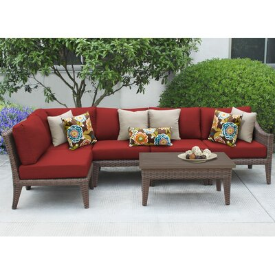 Manhattan 6 Piece Sectional Seating Group with Cushion Fabric: Terracotta