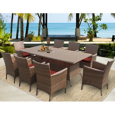 Laguna 9 Piece Dining Set with Cushions Cushion Color: Terracotta