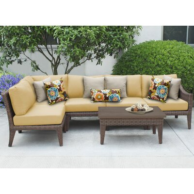 Manhattan 6 Piece Sectional Seating Group with Cushion Fabric: Sesame
