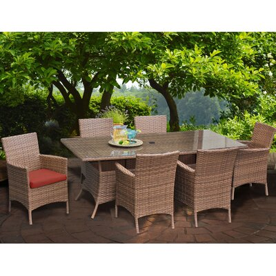 Laguna 7 Piece Dining Set with Cushions Cushion Color: Terracotta