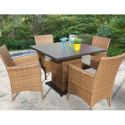 Laguna 5 Piece Dining Set Cushion Color: Beige