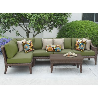 Manhattan 6 Piece Sectional Seating Group with Cushion Fabric: Cilantro