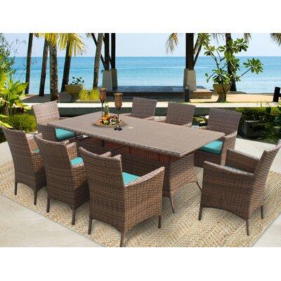 Laguna 9 Piece Dining Set with Cushions Cushion Color: Navy