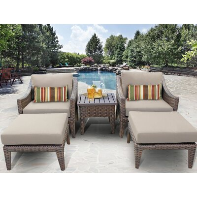 Manhattan 5 Piece Lounge Seating Group with Cushion Fabric: Beige