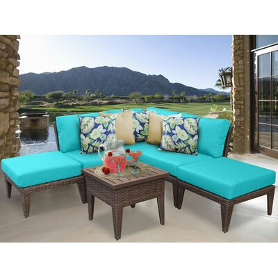 Manhattan 6 Piece Sectional Seating Group with Cushion Fabric: Aruba