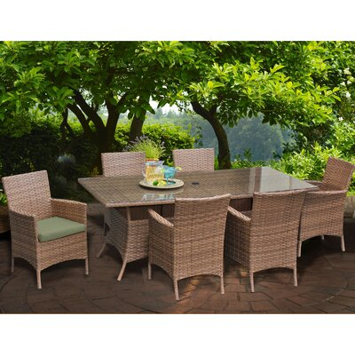 Laguna 7 Piece Dining Set with Cushions Cushion Color: Cilantro