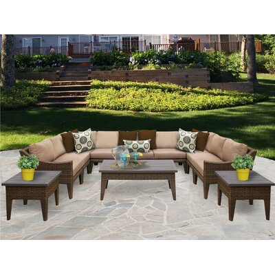 Manhattan 12 Piece Sectional Seating Group with Cushion Fabric: Wheat