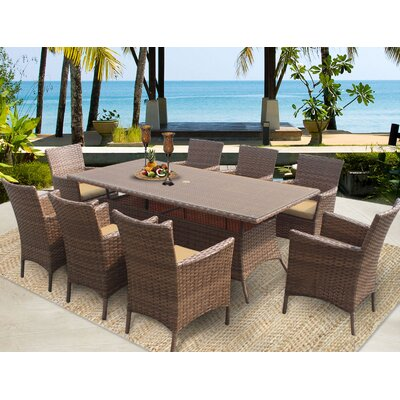 Laguna 9 Piece Dining Set with Cushions Cushion Color: Sesame