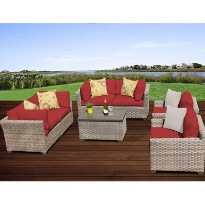 Monterey 7 Piece Deep Seating Group with Cushion Fabric: Terracotta