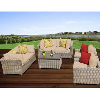 Monterey 7 Piece Deep Seating Group with Cushion Fabric: Wheat
