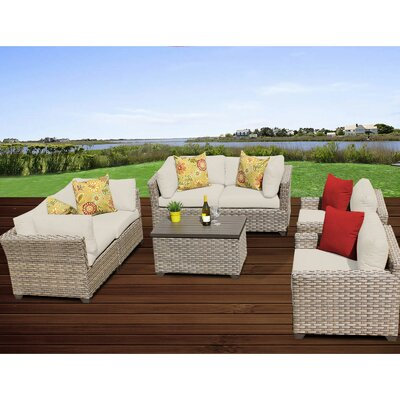 Monterey 7 Piece Deep Seating Group with Cushion Fabric: Beige