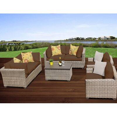 Monterey 7 Piece Deep Seating Group with Cushion Fabric: Cocoa