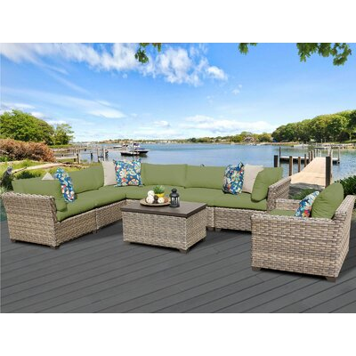 Monterey 8 Piece Sectional Seating Group with Cushion Fabric: Cilantro