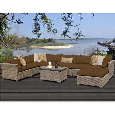 Monterey 9 Piece Sectional Seating Group with Cushion Fabric: Cocoa