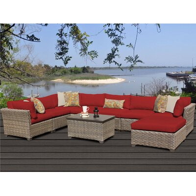 Monterey 9 Piece Sectional Seating Group with Cushion Fabric: Terracotta