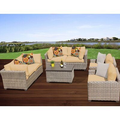 Monterey 7 Piece Deep Seating Group with Cushion Fabric: Sesame