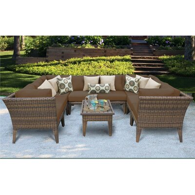 Manhattan 9 Piece Sectional Seating Group with Cushion Fabric: Cocoa