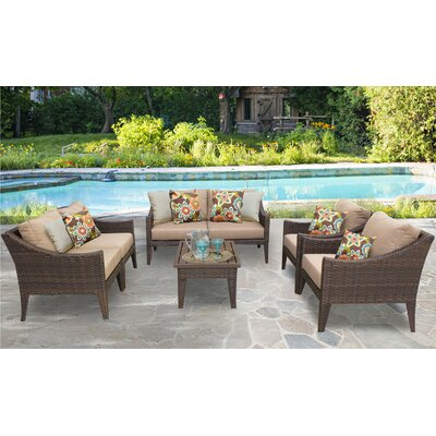 Manhattan 7 Piece Deep Seating Group with Cushion Fabric: Wheat