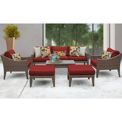 Manhattan 8 Piece Deep Seating Group with Cushion Fabric: Terracotta