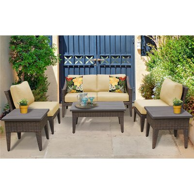 Manhattan 7 Piece Deep Seating Group with Cushion Fabric: Sesame