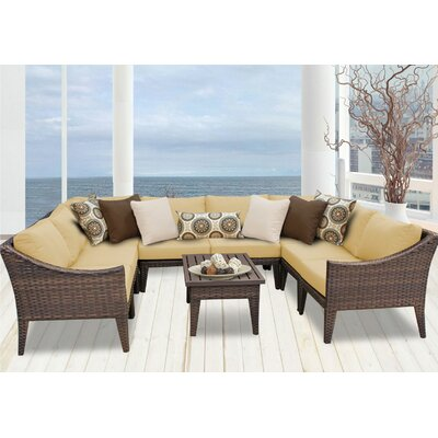 Manhattan 9 Piece Sectional Seating Group with Cushion Fabric: Sesame